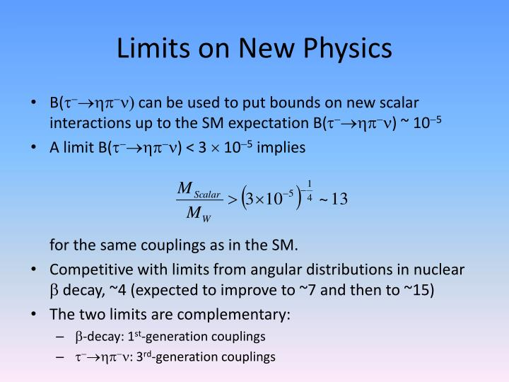 Limits on New Physics