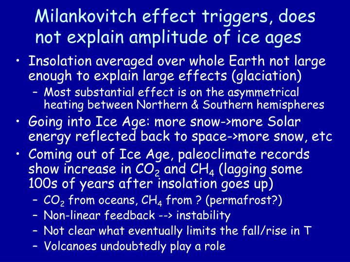 Milankovitch effect triggers, does not explain amplitude of ice ages