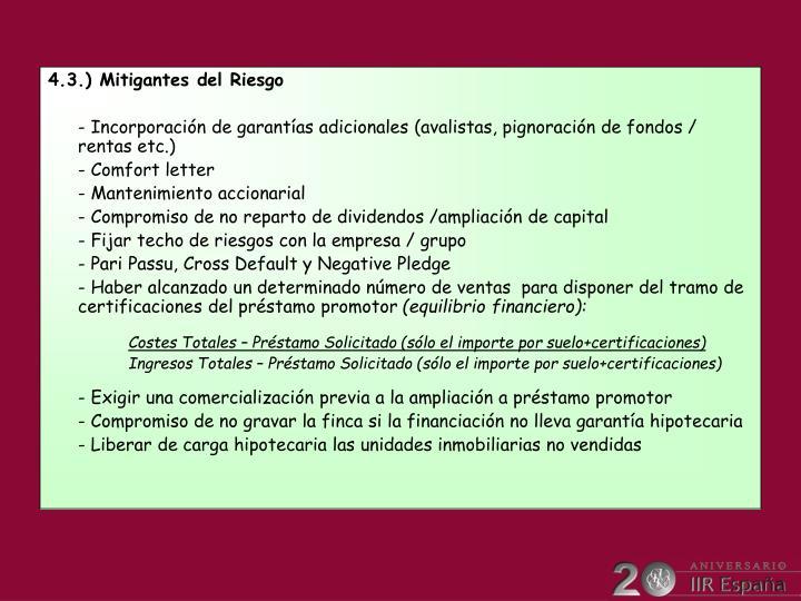 4.3.) Mitigantes del Riesgo