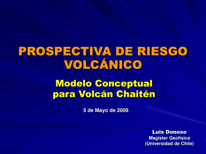PROSPECTIVA DE RIESGO VOLCÁNICO