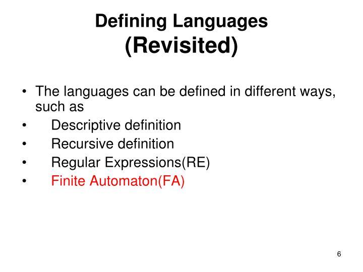 Defining Languages