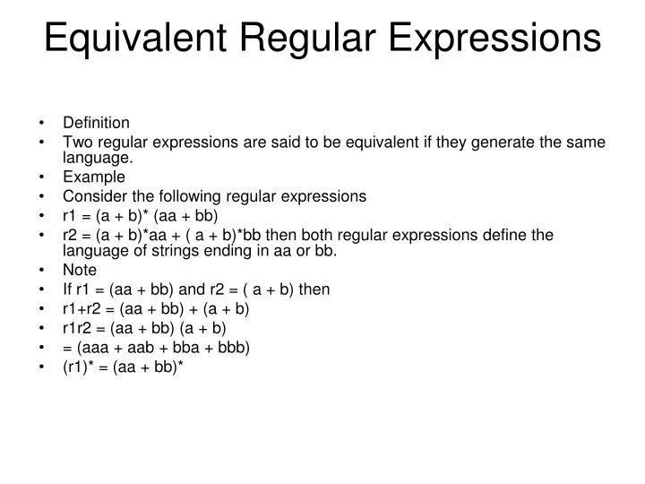 Equivalent Regular Expressions