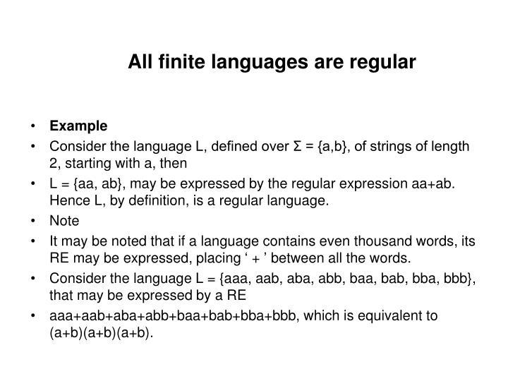 All finite languages are regular
