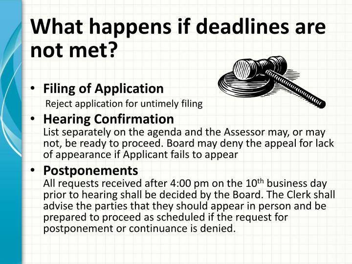 What happens if deadlines are not met?