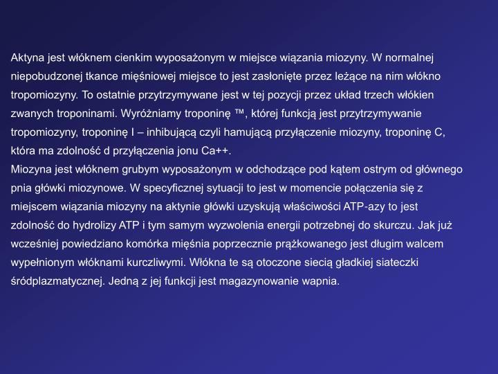 Aktyna jest wknem cienkim wyposaonym w miejsce wizania miozyny. W normalnej niepobudzonej tkance miniowej miejsce to jest zasonite przez lece na nim wkno tropomiozyny. To ostatnie przytrzymywane jest w tej pozycji przez ukad trzech wkien zwanych troponinami. Wyrniamy troponin , ktrej funkcj jest przytrzymywanie tropomiozyny, troponin I  inhibujc czyli hamujc przyczenie miozyny, troponin C, ktra ma zdolno d przyczenia jonu Ca++.