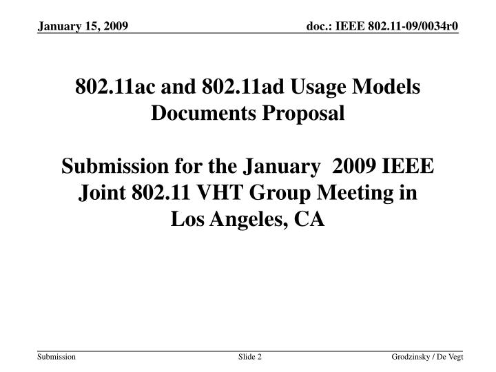 802.11ac and 802.11ad Usage Models Documents Proposal