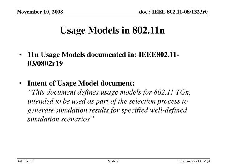 Usage Models in 802.11n
