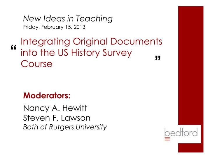 integrating original documents into the us history survey course