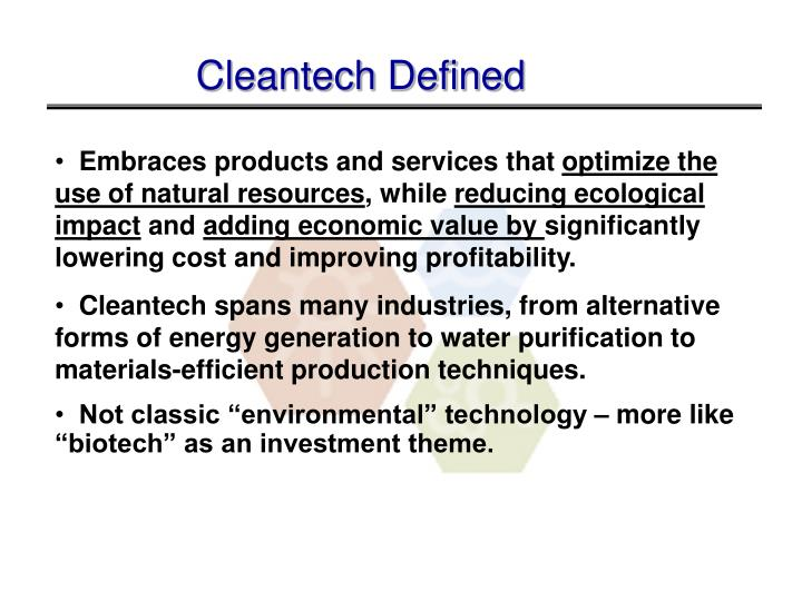 Cleantech Defined