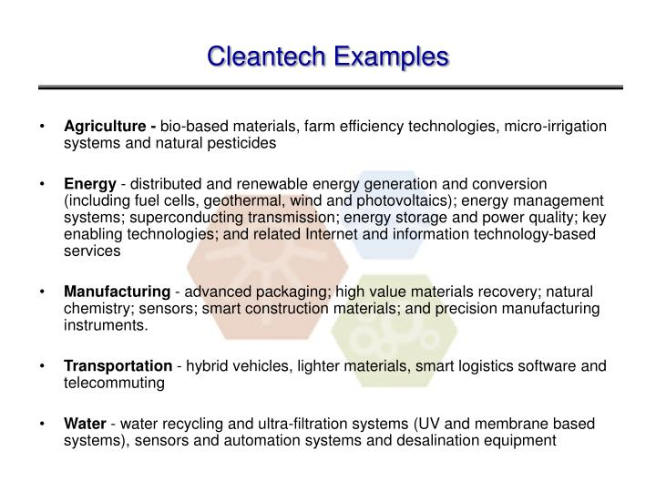Cleantech Examples