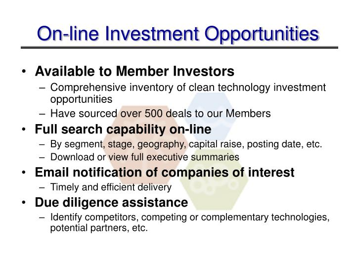 On-line Investment Opportunities