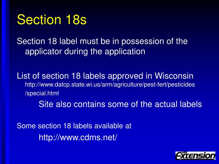 Section 18s