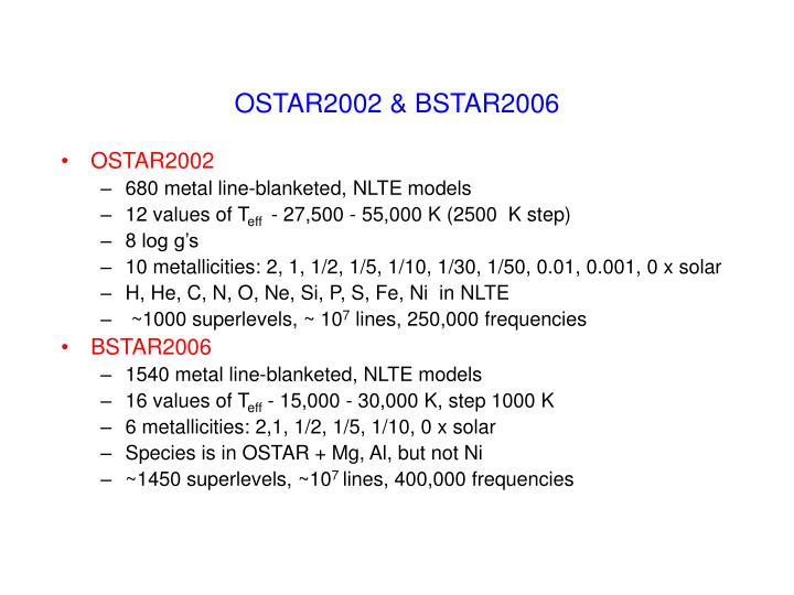 OSTAR2002 & BSTAR2006