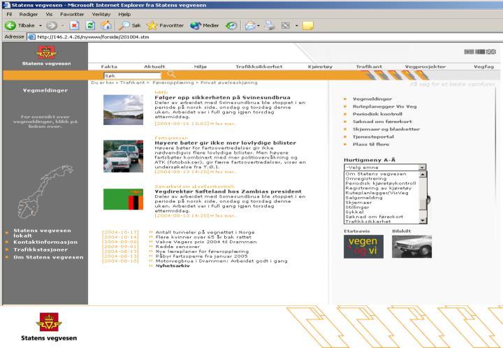Informasjon om vegprosjekter