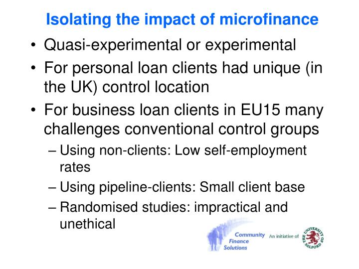 Isolating the impact of microfinance