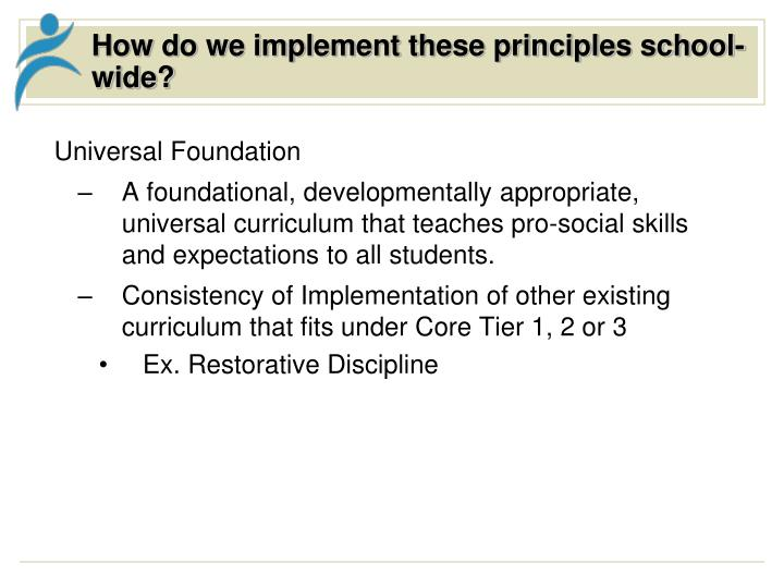 How do we implement these principles school-wide?