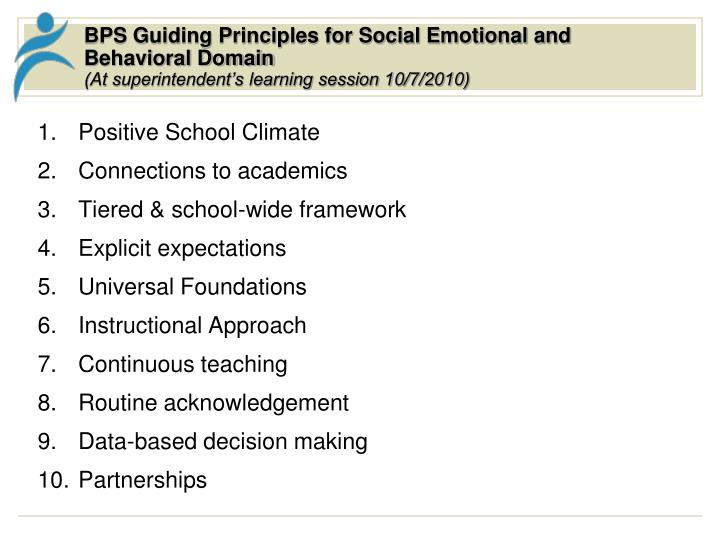 BPS Guiding Principles for Social Emotional and Behavioral Domain