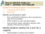 what do service teams do step 1 defining the problem