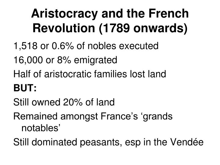 Aristocracy and the French Revolution (1789 onwards)