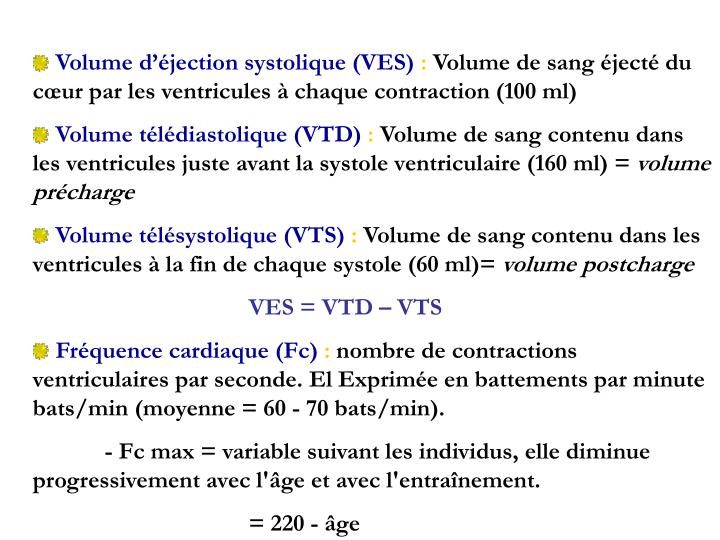 Volume d'éjection systolique (VES)