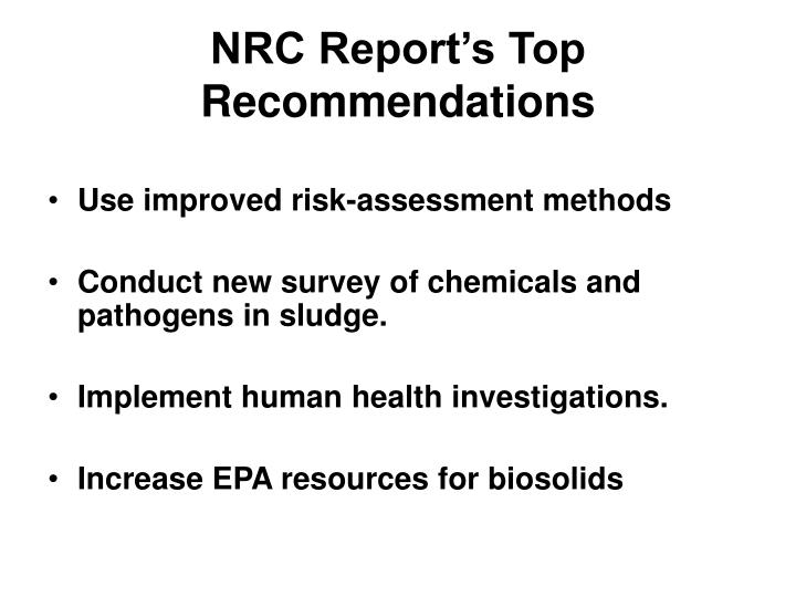 NRC Report's Top Recommendations
