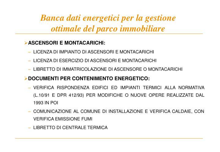 Banca dati energetici per la gestione