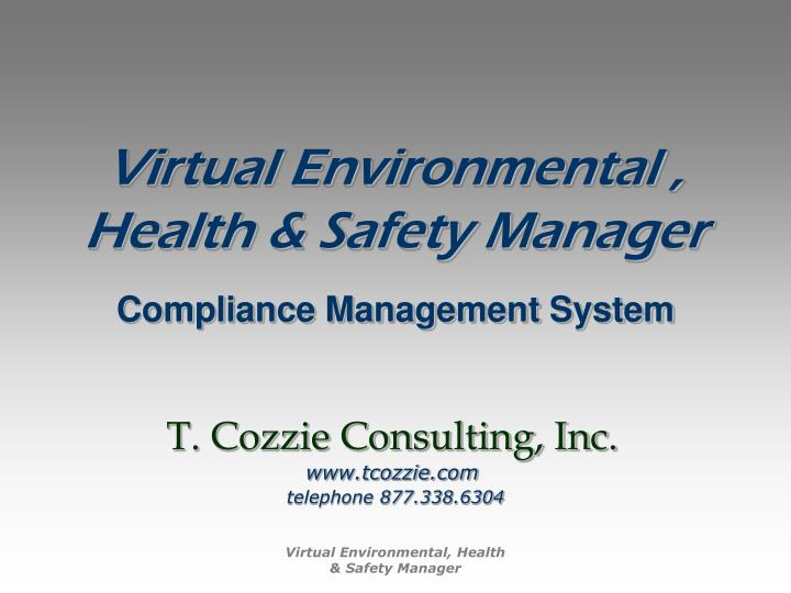 Virtual environmental health safety manager