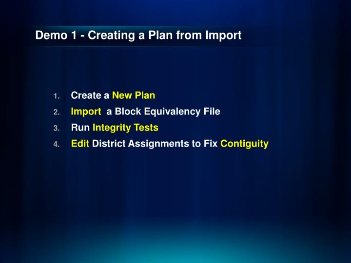 Demo 1 - Creating a Plan from Import