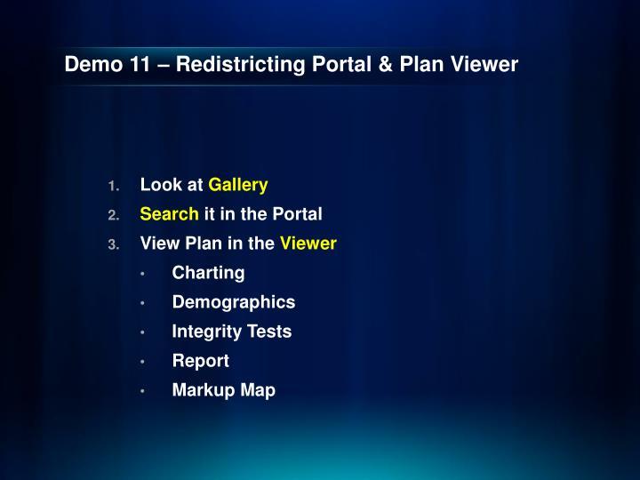 Demo 11 – Redistricting Portal & Plan Viewer