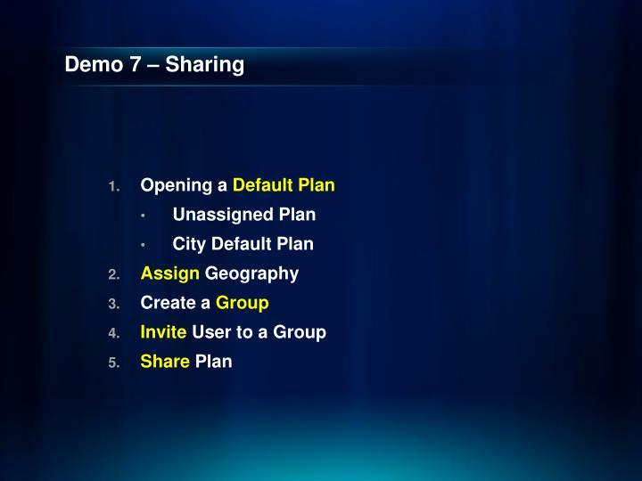 Demo 7 – Sharing