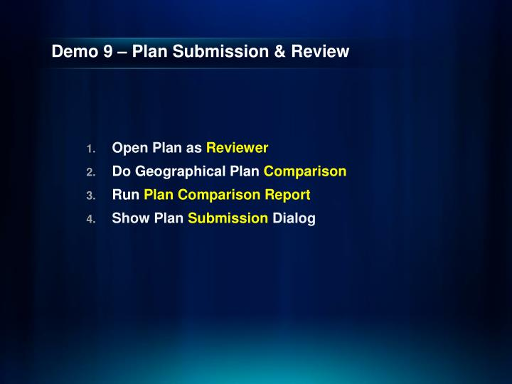 Demo 9 – Plan Submission & Review