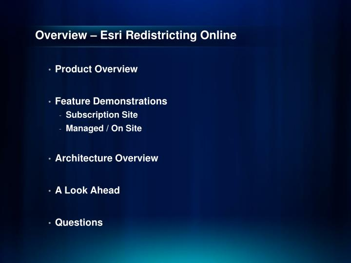 Overview – Esri Redistricting Online