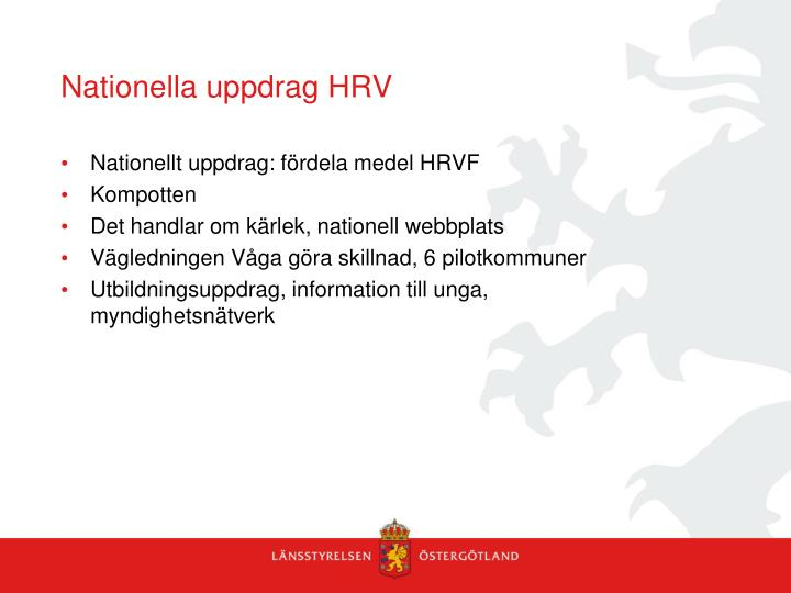 Nationella uppdrag HRV