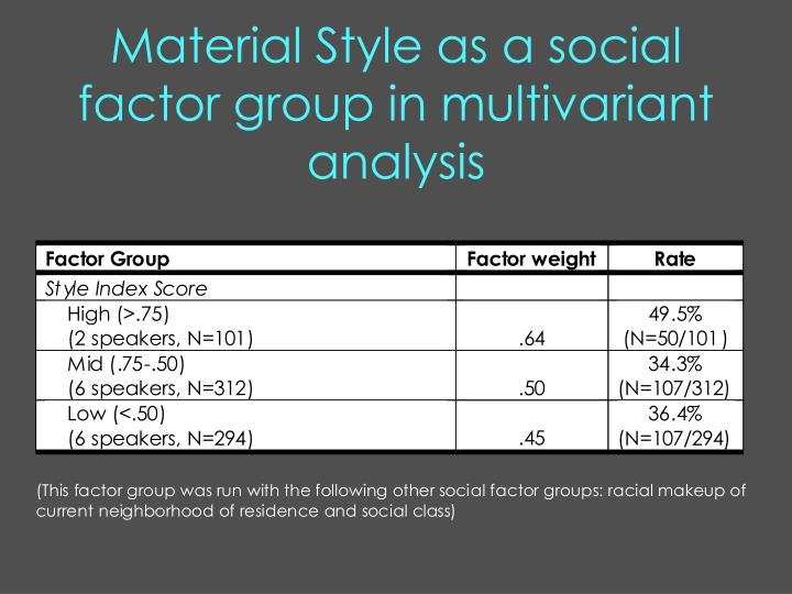 Material Style as a social factor group in multivariant analysis