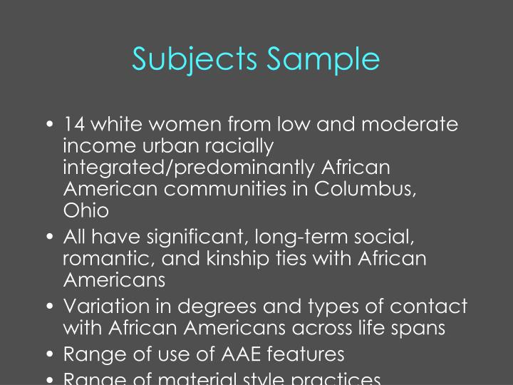 Subjects Sample