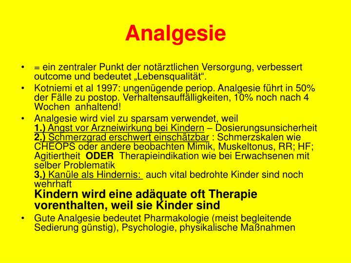 Analgesie