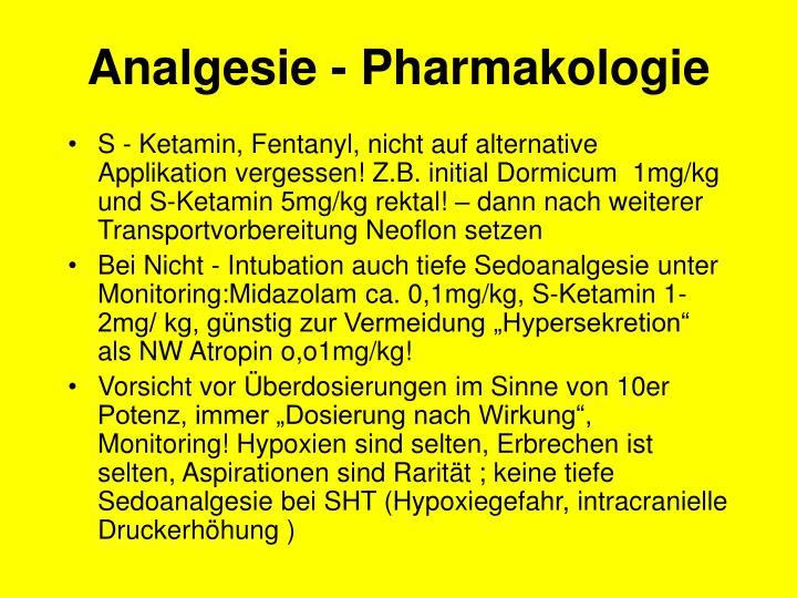 Analgesie - Pharmakologie