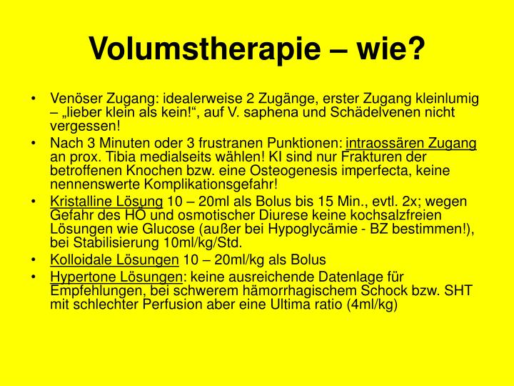 Volumstherapie – wie?