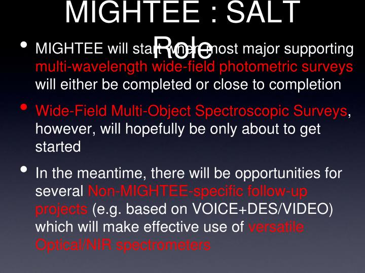 MIGHTEE : SALT Role