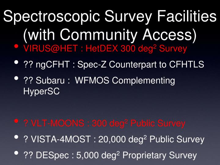 Spectroscopic Survey Facilities (with Community Access)