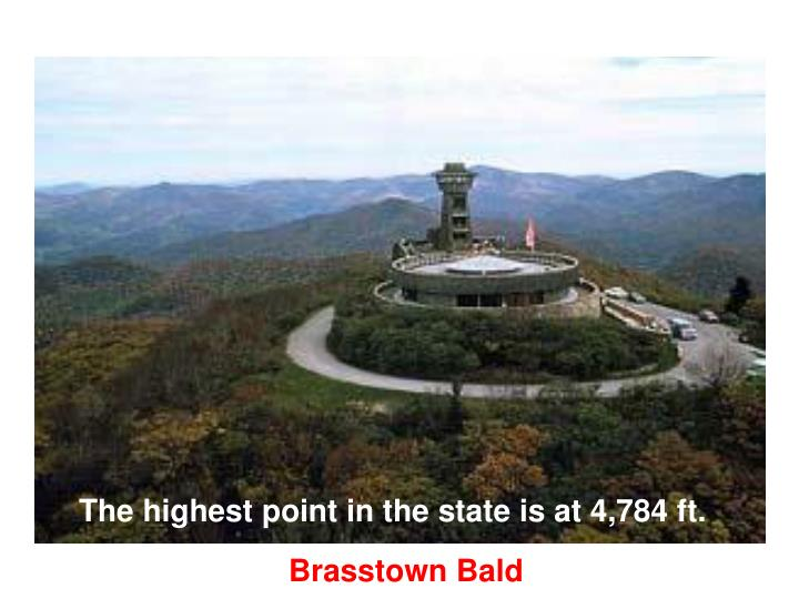 The highest point in the state is at 4,784 ft.
