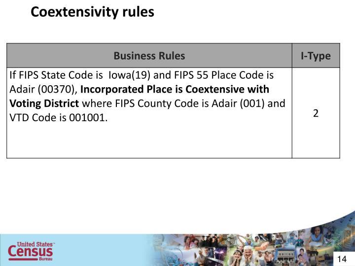 Coextensivity rules