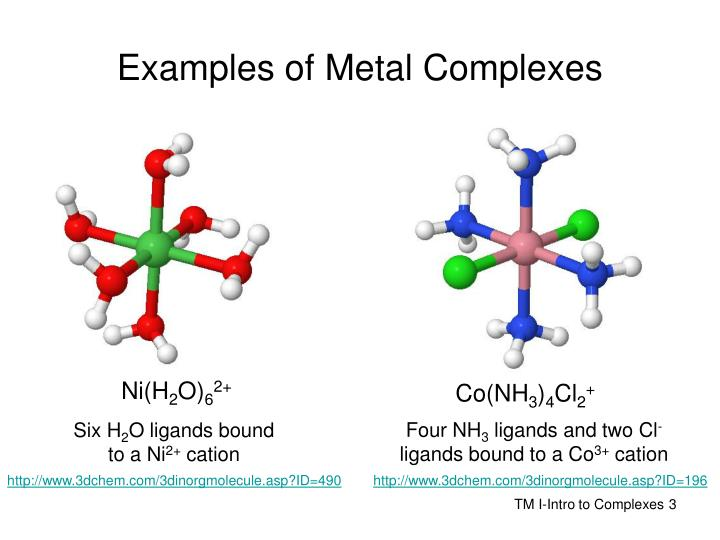 Examples of metal complexes