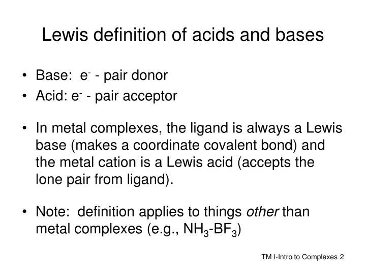 Lewis definition of acids and bases
