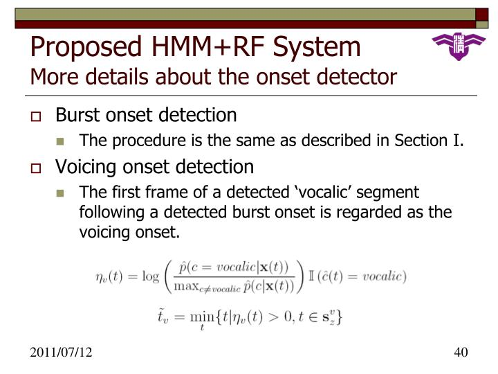 Proposed HMM+RF System