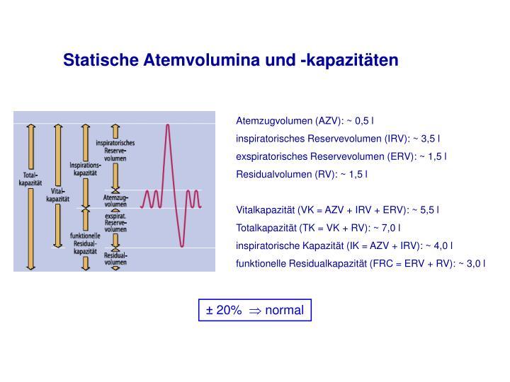 Statische Atemvolumina und -kapazitäten