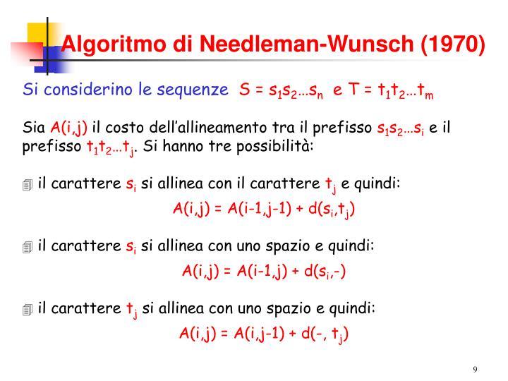 Algoritmo di Needleman-Wunsch (1970)
