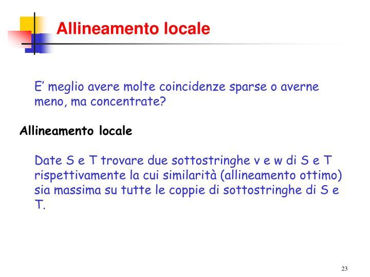 Allineamento locale
