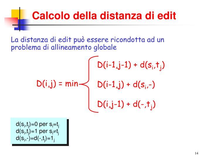 D(i-1,j-1) + d(s