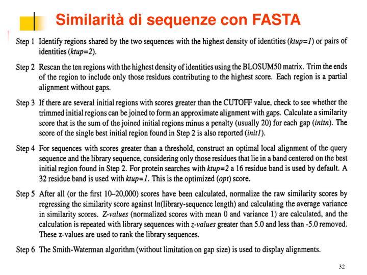 Similarità di sequenze con FASTA